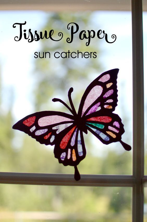 Easy and pretty tissue paper butterfly sun catchers - Mommy Scene