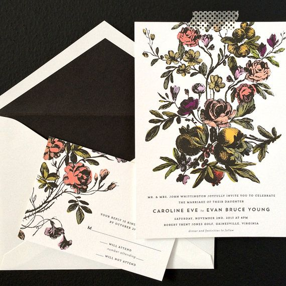A darkly romantic invitation design.