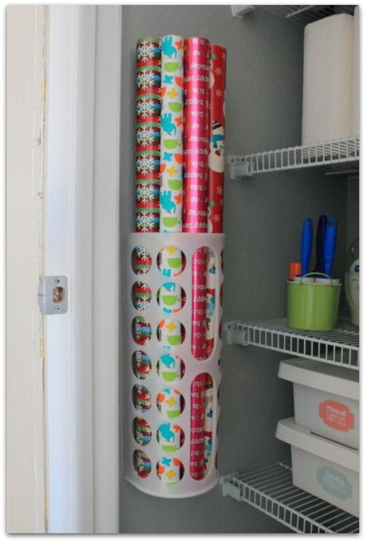 wrapping paper organization - so smart!!