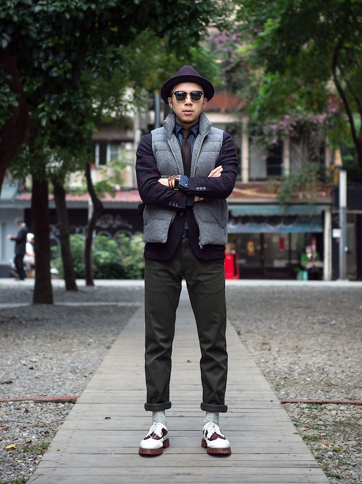 Uniqlo Wool Gentry Hat, Ray Ban Sunglasses, Uniqlo Wool Down Vest, Uniqlo Wool Blazer, Uniqlo Necktie, Uniqlo Denim Shirts, Orient Watch, Leather Wristband, Uniqlo Trousers, Uniqlo Socks, Dr. Martens Wingtip Shoes