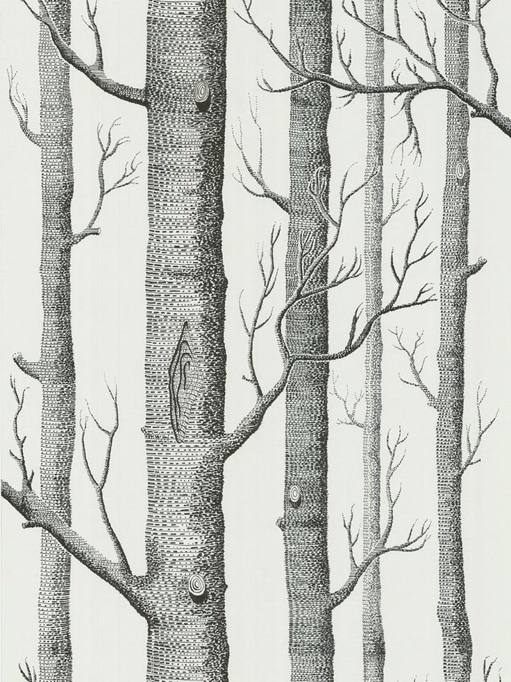 Cole & Son Woods Wallpaper, White / Black, 69/12147  £6