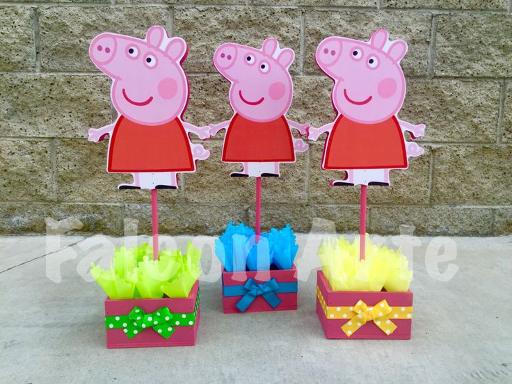 Peppa Pig centerpiece Wood handcrafted for 1st 2nd 3rd 4th 5th Birthday Centerpieces for cake guest table decoration centerpiece PER PIECE by RosiesPoshParties on Etsy https://www.etsy.com/listing/264156142/peppa-pig-centerpiece-wood-handcrafted