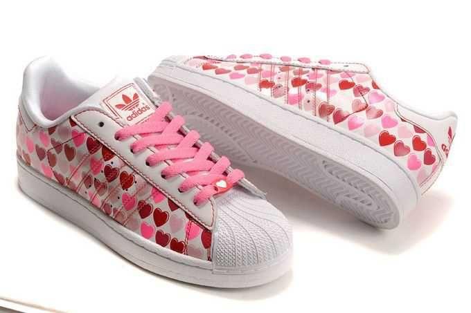 Kauf neuer Damen Online Adidas Superstar II Hearts Schuhe weiß Rot Großer Rabatt NA890962