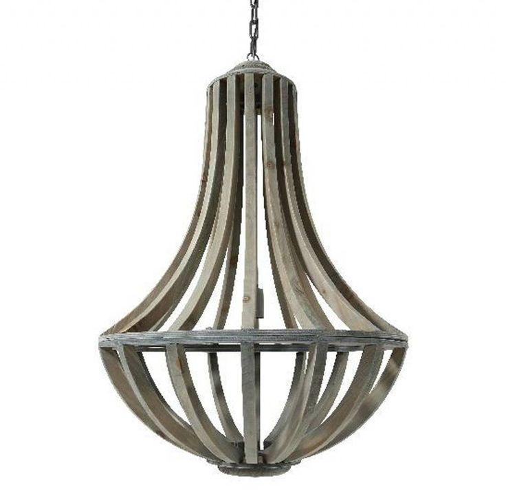 Landelijke Hanglamp Lara grijs hout Kroonluchters van hout en Kroonluchters van metaal, brons en kristalglas. Grote kroonluchters 6-lichts, 8-lichts, 12-lichts, 16-lichts, 26-lichts, 30-lichts, 36-lichts en Jumbo Kroonluchters. spijlen van oud grijs