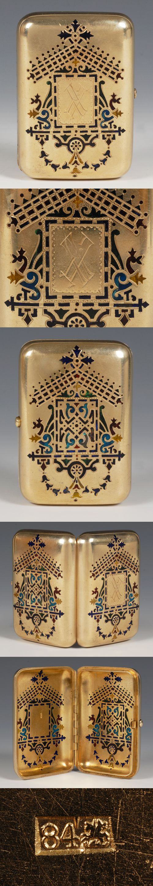 A Russian silver gilt and plique-a-jour enamel cigarette case, Ivan Khlebnikov, Moscow, circa 1896-1908. Of rectangular form with rounded corners, one side of the case decorated with multi-color translucent plique-a-jour enamel floral and foliate motifs, the other side similarly decorated featuring an engraved monogram