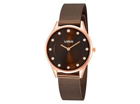 #Lorus ladies' rose gold plated slim design dress #watch set with eleven #crystals and mesh bracelet.      | #thomasjewellers