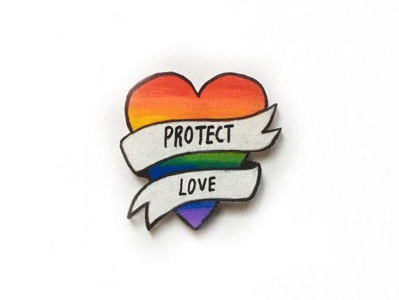 LGBT Rainbow Flag Heart Pin by Ectogasm