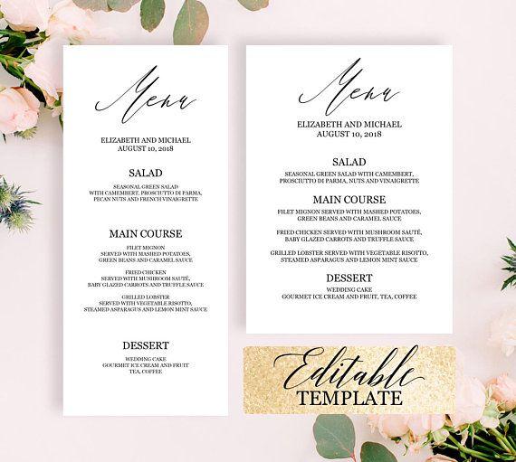 Calligraphy wedding menu template, Elegant dinner party menu