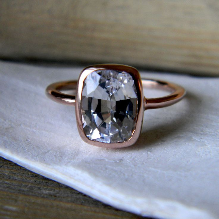 White Sapphire RIng,  Rose Gold Engagement Ring, Cushion Cut 2.5 CTS,  Made To Order. $980.00, via Etsy.