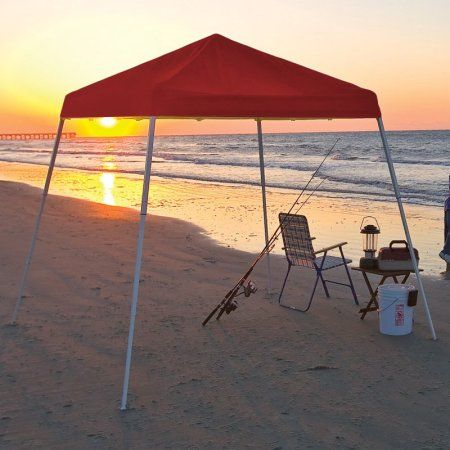 8' x 8' Sport Pop-up Canopy Slant Leg Red Cover