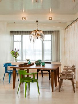 armchairs, ceiling lighting, centerpiece, chandelier, dining table, flowers, light wood floors, sheer curtains, teak table, vase, windows, wood table, city view, colorful, accent chairs, sheer curtains