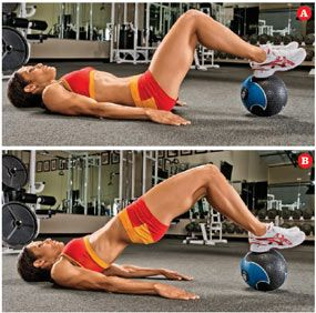 Overview: By rolling the medicine ball closer to or farther away from your glutes, you will feel this exercise in different areas of your glutes. Find the one that allows you to feel it most in the lower-middle portion of your glutes. For added resistance, place a dumbbell or weight plate on your pelvis.
