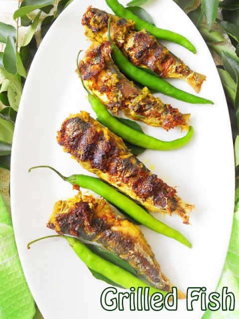 Grilled Fish, sardine is marinated in green masala and drizzled with coconut oil...step by step tutorial