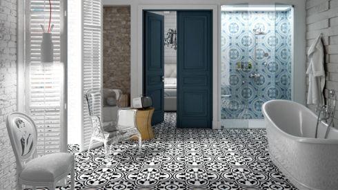 bathroom trends 2016 - mustriline põrand, külmad sinised toonid