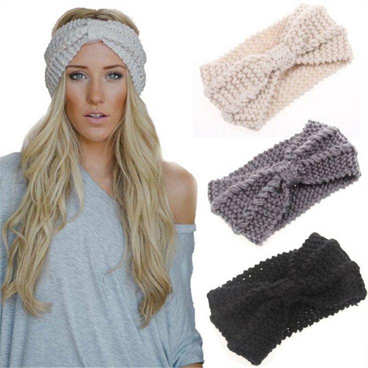 Winter Women Warm Headbands Knitting Hairbands Stretch Knotted Headwear Crochet Bow Elegant Turban Hair Accessories1pc WH231