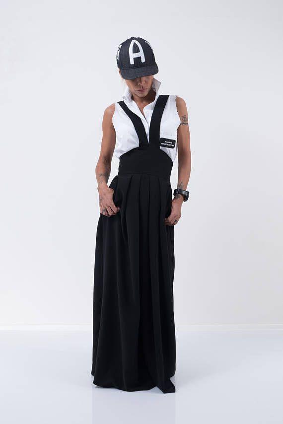 Wysoka talia czarna spódnica / Kobieta długa spódnica / Długa spódnica / pończoch Spódnica