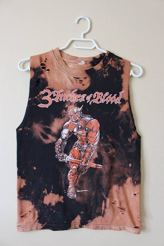 This shirt is a one of a kind, each splattered shirt is different.  This one is a 3 Inches of Blood Tour tank top, all cotton.  This shirt has distressing strategically placed all over the shirt including the collar, front, back and the bottom hem.  Heres your info on it -  - Size Small  - Across chest flat, pit to pit -18 (36 around)  - Shoulder seam down - 24  If you need more info or have any questions, just yell, were around to help you out.  If youre ordering from a location not listed…