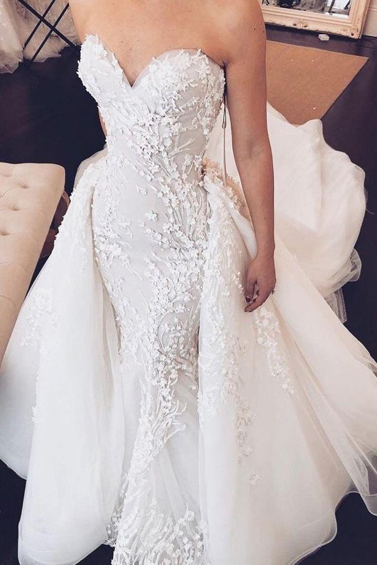 Acheter 2 en 1 robe de mariée sirène chérie avec train détachable OW368 -…