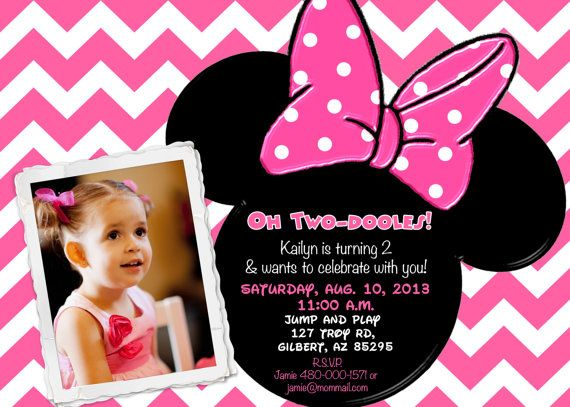 75 best Pink Chevron Minnie Mouse Birthday Party Invitations – Minnie Mouse Personalized Birthday Invitations