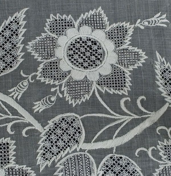 Regency clothing at Vintage Textile: Dresden embroidered skirt, openwork, whitework on organdy