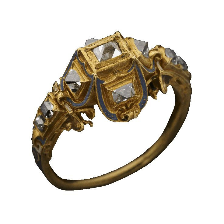 Quatrefoil Point Cut Ring, c. 1550 A.D., diamond, enamel, gold, This ring introduces the table cut diamond, obtained by slicing across the top of the point cut, and the first step in the long process of mastering the techniques of diamond cutting. Since table cuts were still rare point cuts have been used for the bezel. The prestige of a diamond ring stood so high that it was not only used by the rich at weddings, but kings and queens adopted it as an emblem.