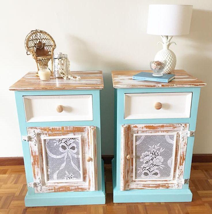 upcycled side tables for bedroom and vintage decorating ideas #decorating #vintage #DIY