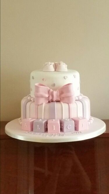 Baby girls christening cake complete with handmade decorations. By #topperscakesandcupcakes