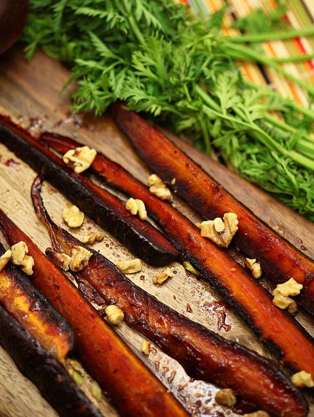 Pomegranate molasses glazed carrots with walnuts