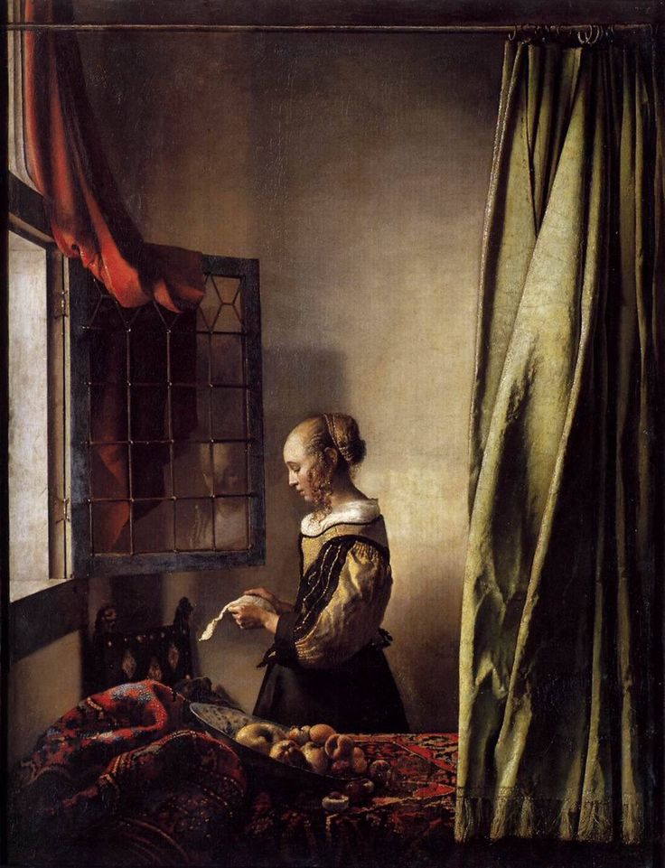 "Jan Vermeer  ""Johannes van der Meer""  ""Girl reading a letter at an open window"" (1657-59).    - Gemäldegalerie,Dresda -"