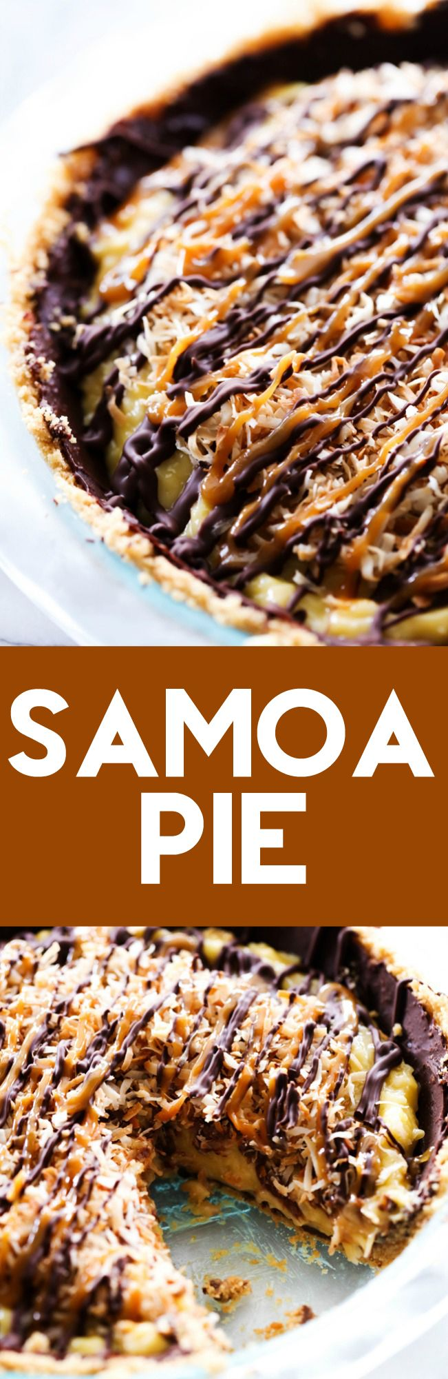 This Samoa Pie is packed with everything you love about the famous girl scout cookies only transformed into a new unforgettable dessert! It has a shortbread cookie crust layered with chocolate and a delightful coconut filling. It is also topped with chocolate and caramel and toasted coconut for the perfect finishing touch!