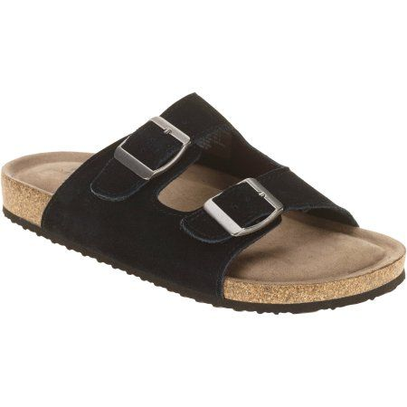 Faded Glory Women's Cork Bottom Buckle Sandal, Size: 6, Black