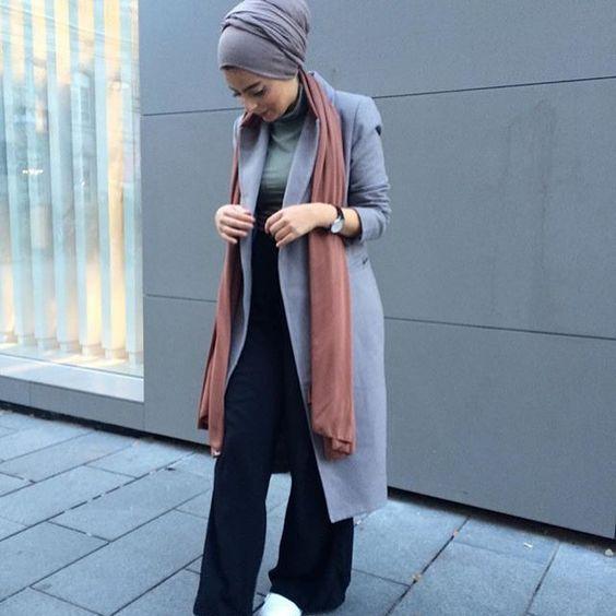 long gray coat hijab fashion- Modern Hijab Street styles http://www.justtrendygirls.com/modern-hijab-street-styles/