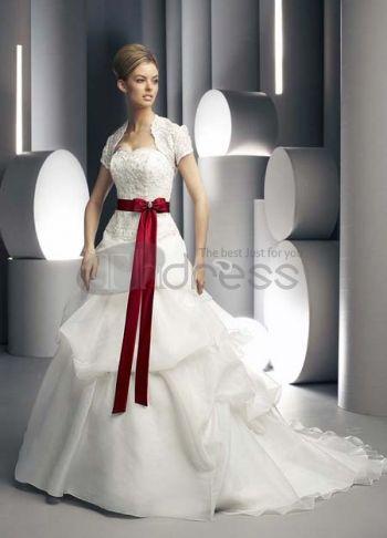 Abiti da Sposa Colorati-Ricamare senza spalline con il rosso abiti da sposa colorati