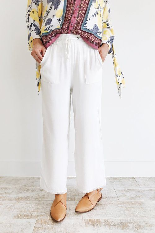 White Beach Pants with Fray Hem | ROOLEE