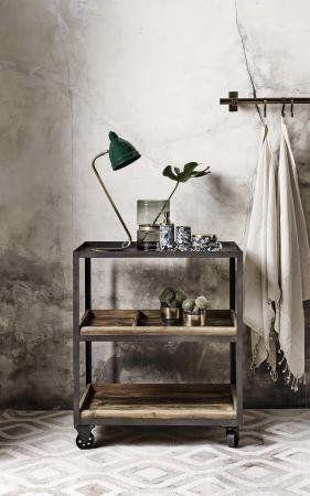 ALE rullebord i jern med træhylder - 75x50 - sort