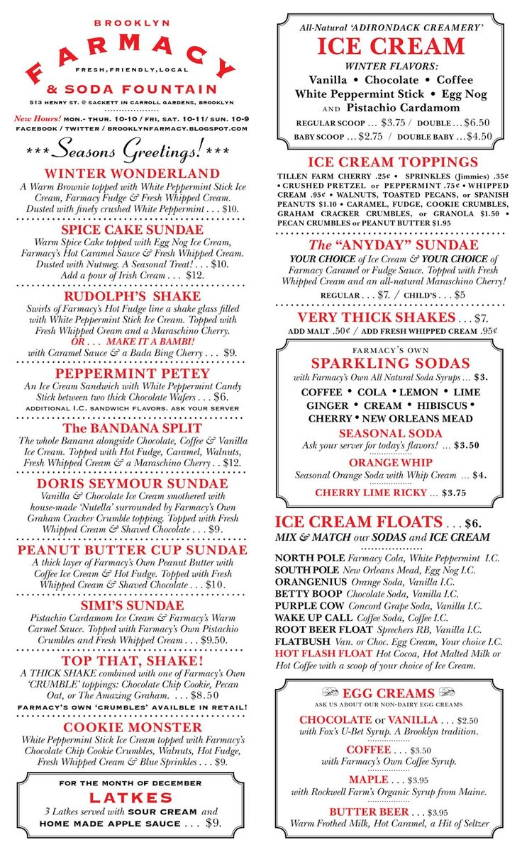 50s Malt Shop Quotes - Brooklyn farmacy soda fountain menu milkshake shopmilkshakesfifties party50s