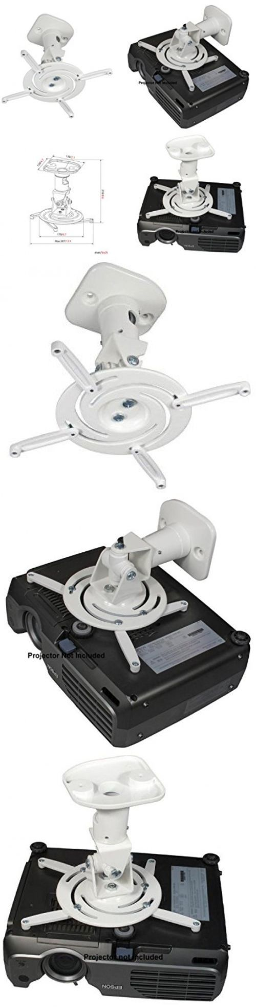 Projector Mounts and Stands: Amer Networks Universal Ceiling Projector Mount - White Amrp100 BUY IT NOW ONLY: $35.97