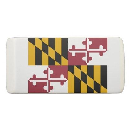 Patriotic Wedge Eraser with flag of Maryland - stylish gifts unique cool diy customize
