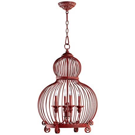 "Quorum Birdcage 4-Light 18"" Wide Red Pendant Light"