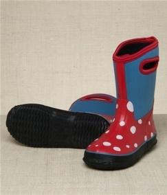 Botas de agua niñas de neopreno Hatley WhiteDots con asas, fáciles de poner. Confort para el frío extremo y resistente al agua. Exterior de neopreno y suela  de goma. $30.36 euros
