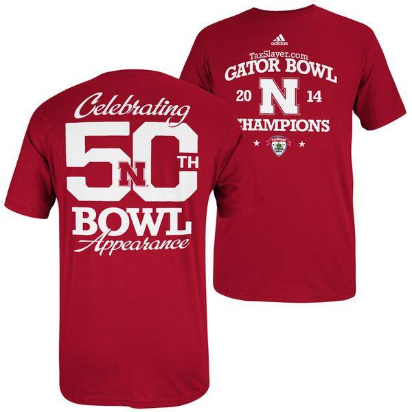 adidas Nebraska Cornhuskers 2014 Gator Bowl Champions 50 Bowls T-Shirt - Scarlet - $7.99