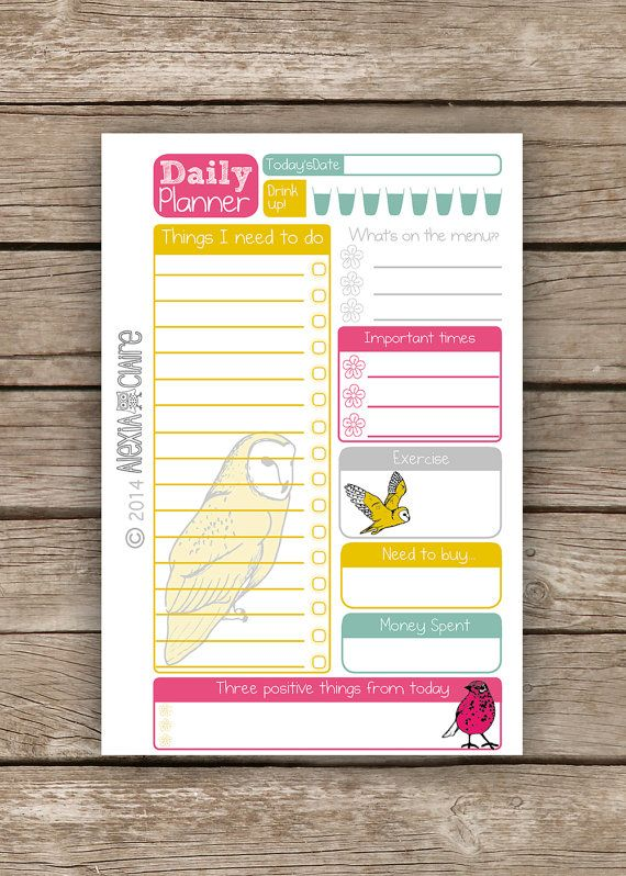 Daily Planner  Pocket Filofax size  Cute hand by AlexiaClaire, £2.00