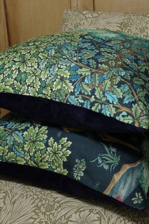 William Morris Co The Brook Indigo Linen Large Cushion Etsy Indigo Linen Large Cushion Covers William Morris