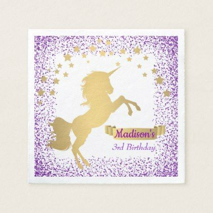 Child's Birthday Party Gold Unicorn Purple Glitter Paper Napkin - glitter glamour brilliance sparkle design idea diy elegant