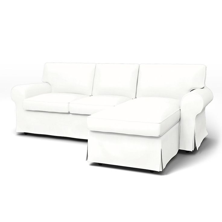Ektorp, Sofa Covers, 2 seater Chaise Longue, Regular Fit using the fabric Panama Cotton Absolute White