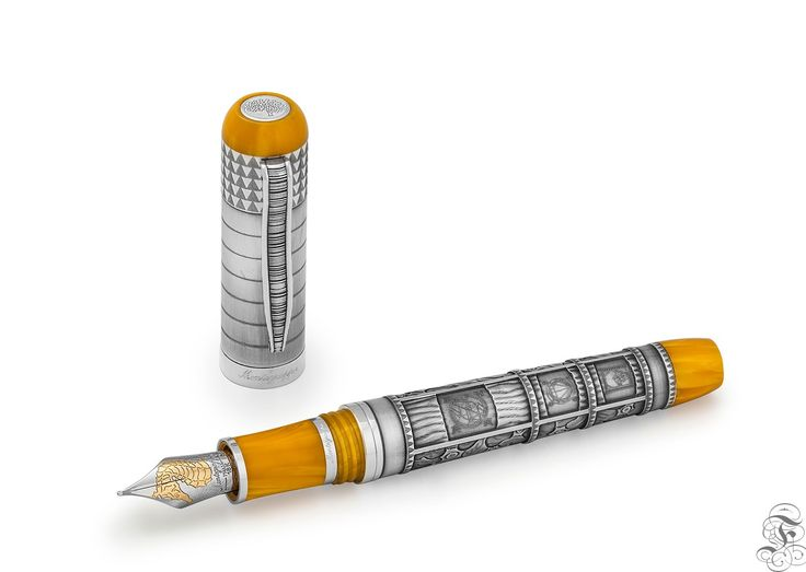 Montegrappa Memory fountain pen yellow and silver, piston filling system, limited edition of 300 pieces
