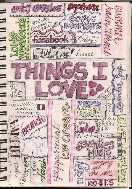 Great idea for a journal page....just fill in personal 'things I love' (although I'm not artistic enough that mine would look anything close to this cute