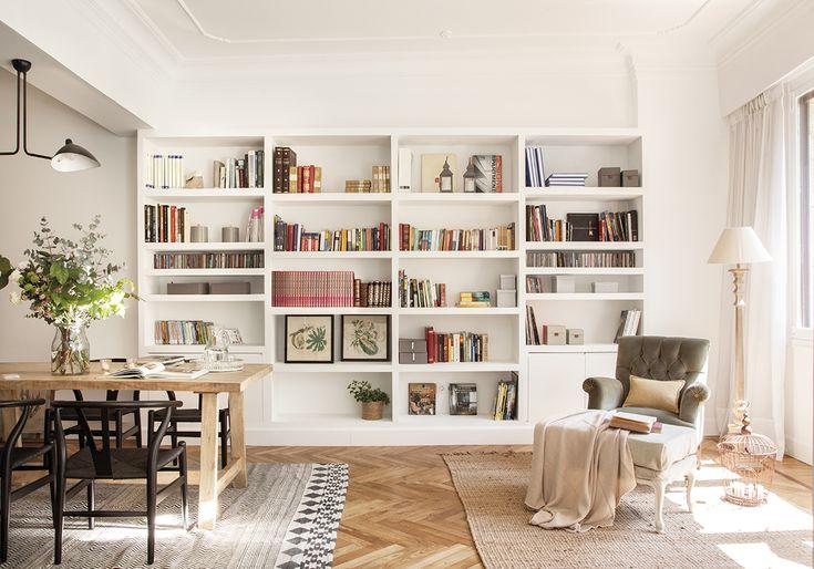 orden-salon-estanteria-el-mueble-00458367. Librería blanca de pladur a medida 00458367