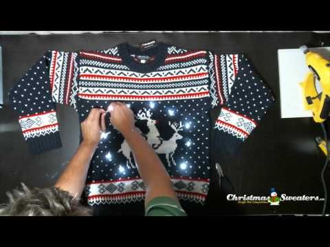 Light Up Naughty Christmas Sweaters. How to make your sweater light up without glue or tape. All you'll need is five or six paperclips and a light set! See it here: http://www.christmassweaters.ca/naughty-christmas-sweaters/