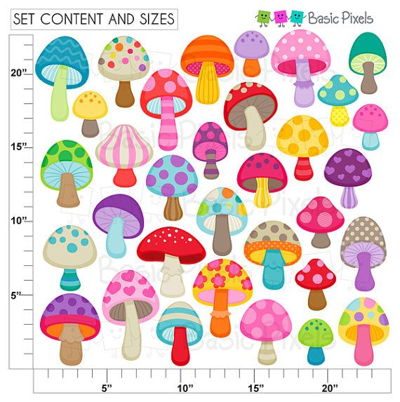 Mushroom clipart Digital Clip Art Personal and by basicpixels